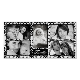 "10""x20"" 5 Slot Personalized Family Collage Montage Print"