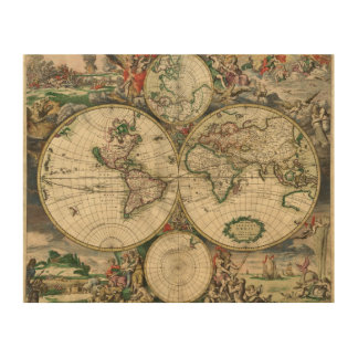 "10""x8"" Vintage World Map Wood Wall Art"