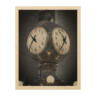 "10""x8"" Wood Wall Art Clock Grand Central New York"
