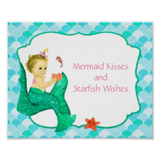 "10"" x 8"" Mermaid Baby Party Sign"