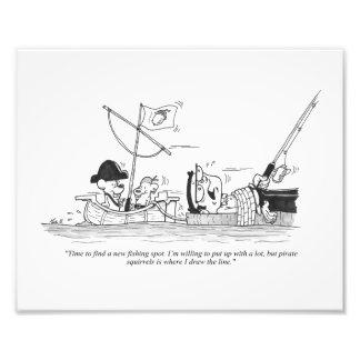"10"" x 8"" Print - Fishing Cartoon - Pirate Squirrel Photo"