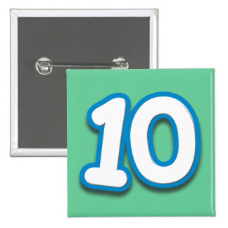 10 Year Birthday or Anniversary - Add Text 15 Cm Square Badge