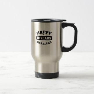 10 Year Happy Marriage Travel Mug