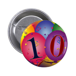 10 year old birthday balloons! 6 cm round badge