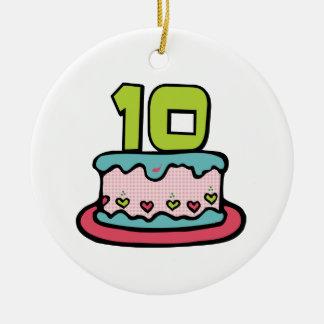 10 Year Old Birthday Cake Ceramic Ornament