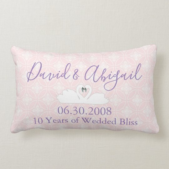 10 Year Wedding Anniversary Pink and white damask Lumbar Cushion