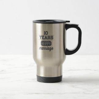 10 Years Happy Marriage Travel Mug