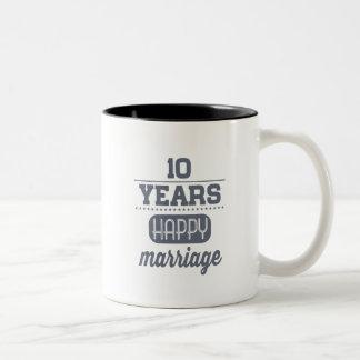 10 Years Happy Marriage Two-Tone Coffee Mug