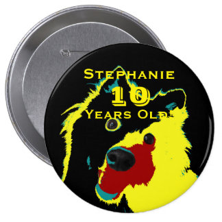 10 Years Old, Happy Yellow Dog Button Pin