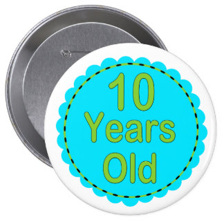 10 Years Old Teal & Lime Memory Button