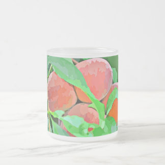 "10oz Frosted Glass Mug ""Peaches in Cartoon"""