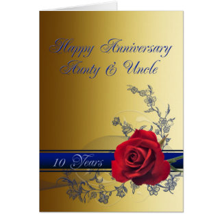 10th Anniversary card,Aunt & Uncle Card