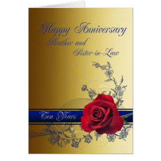 10th Anniversary card,Brother and Sister-in-law Greeting Card