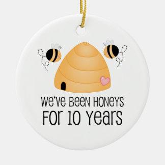10th Anniversary Couple Gift Ceramic Ornament