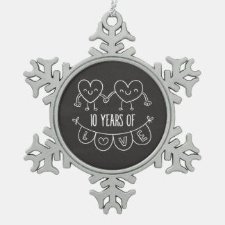10th Anniversary Gift Chalk Hearts Snowflake Pewter Christmas Ornament