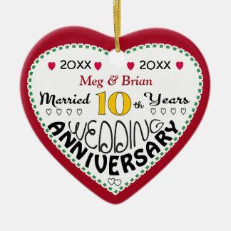 10th Anniversary Gift Heart Shaped Christmas Ceramic Heart Decoration