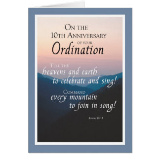 10th Anniversary of Ordination Congratulations Card