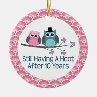 10th Anniversary Owl Wedding Anniversaries Gift Ceramic Ornament