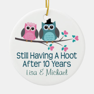 10th Anniversary Personalized Owl Couples Gift Ceramic Ornament