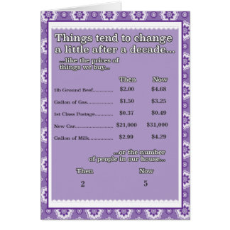10th Anniversary Things that change Card
