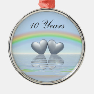 10th Anniversary Tin Hearts Silver-Colored Round Decoration