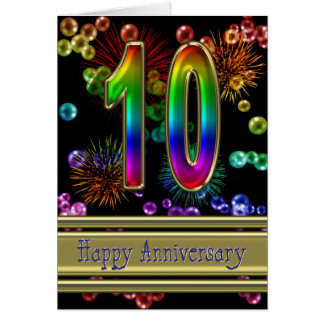 10th anniversary with fireworks and bubbles greeting card