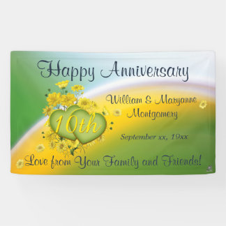 10th Anniversary Yellow Flowers Love Celebration Banner