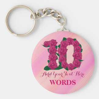 10th birthday 10 pink rose floral template key ring