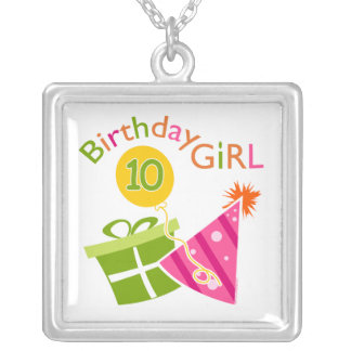 10th Birthday - Birthday Girl Silver Plated Necklace