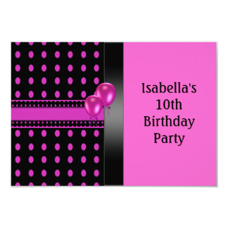 10th Birthday Black Pink Spots Pattern & Balloons 9 Cm X 13 Cm Invitation Card