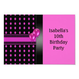 10th Birthday Black Pink Spots Pattern & Balloons 9 Cm X 13 Cm Invitation Card