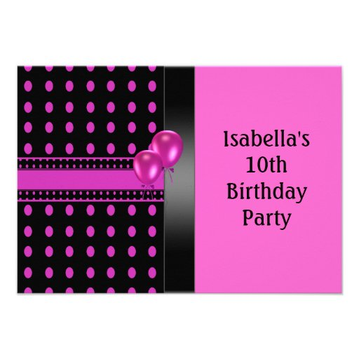 10th Birthday Black Pink Spots Pattern & Balloons Personalized