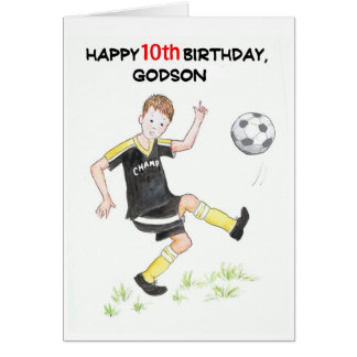10th Birthday Card for a Godson - Footballer