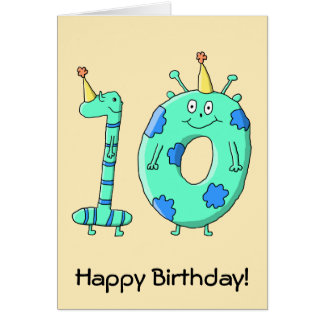 10th Birthday Cartoon, Teal Green and Blue. Card