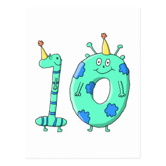 10th Birthday Cartoon, Teal Green and Blue. Postcard