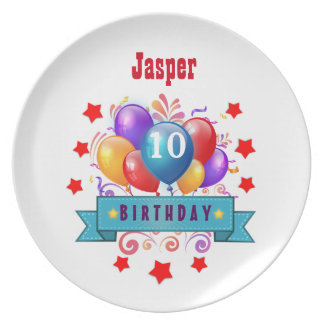 10th Birthday Festive Colorful Balloons V10FZ Party Plate