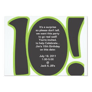 """10th Birthday Invite 5"""" X 7"""" Invitation Card"""