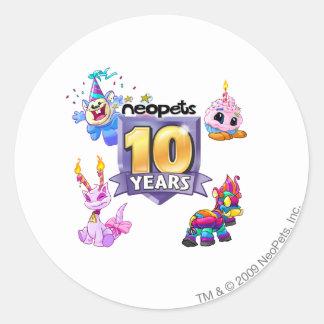10th Birthday Logo Round Sticker