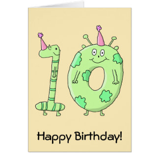 10th Birthday Party Cartoon - Green. Card