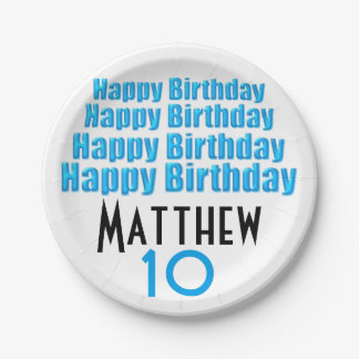 10th Birthday Party Personalized Paper Plates 7 Inch Paper Plate