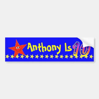10th Birthday Party Red Smiley Star Decoration Car Bumper Sticker