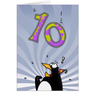 10th Birthday - Penguin Surprise Card