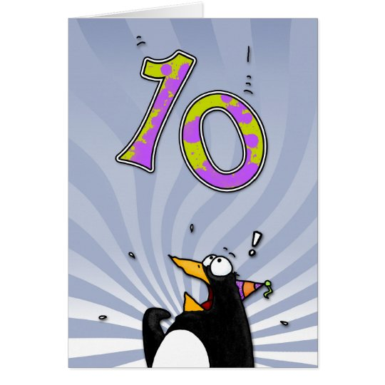 10th Birthday - Penguin Surprise Card