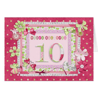 10th birthday scrapbooking style card