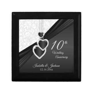 10th Black Onyx and White Wedding Anniversary Gift Box