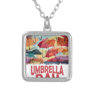 10th February - Umbrella Day - Appreciation Day Silver Plated Necklace