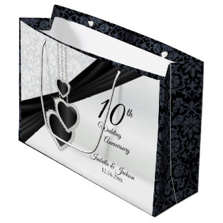 10th Onyx and White Wedding Anniversary - Large Large Gift Bag