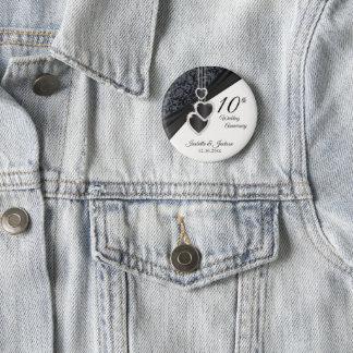 10th Onyx Wedding Anniversary Design 6 Cm Round Badge