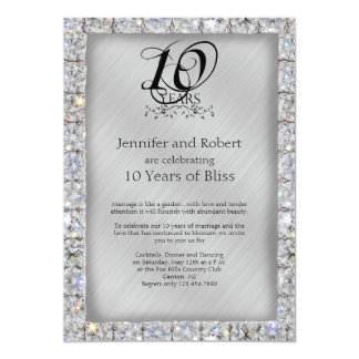 10th Tin and Diamond Wedding Anniversary 5x7 Paper Invitation Card