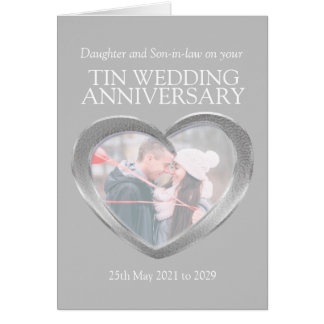 10th tin wedding anniversary photo card